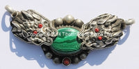 Tibetan Double Dragon Pendant with Malachite & Copal Inlays - WM513
