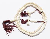 108 beads - Tibetan White Bone Mala Prayer Beads with Bell & Vajra Counters - 6mm-7mm - Tibetan Mala Beads - Mala Making Supplies - PB78 - TibetanBeadStore