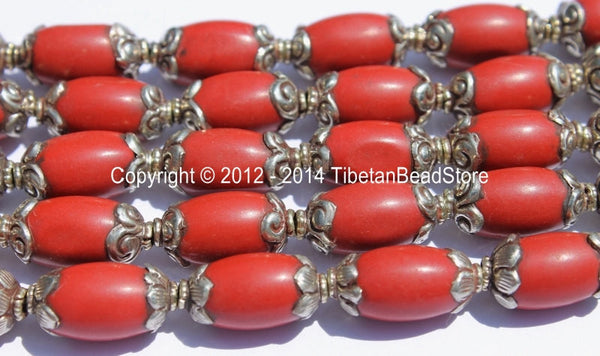 4 BEADs - Tibetan Red Copal Beads with Tibetan Silver Caps - Ethnic Nepal Tibetan Beads - B2020-4