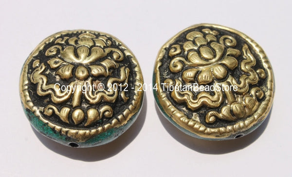 2 Beads - BIG Tibetan Repousse Carved Brass Auspicious Lotus Round Disc Shape Bead with Turquoise Side Inlays -  B2275-2 - TibetanBeadStore