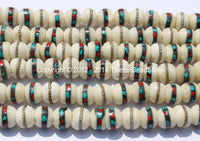 10 BEADS 9-10mm Tibetan White Bone Beads with Turquoise & Coral Inlays- Handmade Nepal Tibetan Beads - Mala Making Supplies - LPB12-10