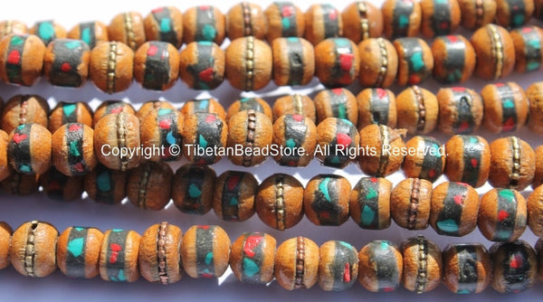 10 BEADS 8mm Size Tibetan Wood Beads - Wooden Beads with Turquoise, Coral, Brass & Copper Inlays - LPB15S-10