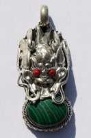 Tibetan Dragon Pendant with Malachite & Coral Inlay -WM292