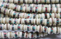 10 beads - 8mm Size Tibetan Ethnic White Bone Inlaid Beads with Turquoise & Coral Inlays - LPB12S-10