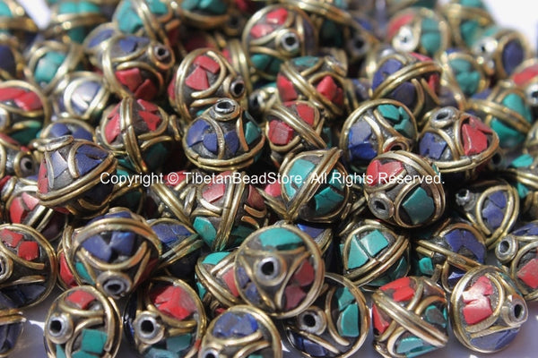 10 BEADS - Bicone Tibetan Beads with Brass, Lapis, Turquoise & Coral Inlays - Handmade Beads - Ethnic Tribal Tibetan Beads - B2579-10
