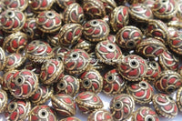 10 BEADS - Tibetan Floral Beads with Brass, Coral Inlays - Tibetan Beads - Floral Tibetan Brass Inlay Beads - B2596-10