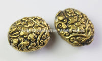 2 BEADS - Tibetan Oval Shape Brass Beads with Repousse Carved Floral Details - Ethnic Tibetan Beads - B2415B-2