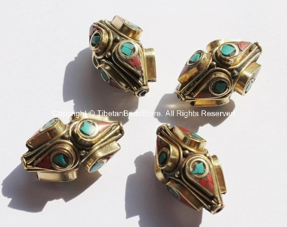 4 BEADS - BIG Ethnic Tibetan Thick Bicone Brass Beads with Turquoise & Copal Coral Inlays - Unique Tibetan Brass Beads - B1415B-4