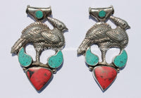 Large Tibetan Peacock Pendant with Turquoise & Coral Inlays - Handmade Repousse Tibetan Silver Peacock Tibetan Amulet Pendant - WM5410