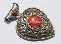 Large Ethnic Tibetan Repousse Carved Heart Shaped Pendant with Coral Inlays - Ethnic Tribal Tibetan Jewelry Pendant - WM5439