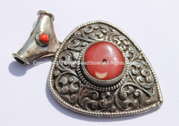 LARGE Ethnic Tibetan Repousse Carved Heart Shaped Pendant with Coral Inlays - Ethnic Tribal Tibetan Jewelry Pendant - WM5371