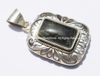 Tibetan Engraved Cut Rectangular Pendant with Rutilated Quartz Inlay - Handmade Nepal Tibetan Jewelry - Tibetan Pendant - WM5292