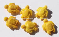 4 BEADS - Yellow Howlite Carved Turtle Charm Beads - Swimming Turtle Bead Charms - Charms, Beads, Findings - Small Turtle Beads - B2742-4