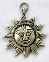 Small Nepalese Sun Pendant - TibetanBeadStore - Jewelry & Beading Supplies - Tibetan Charms Pendants - Ethnic Charms Pendants - WM91-1