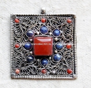 Nepalese Filigree Square Pendant with Coral & Lapis Inlays - TibetanBeadStore -  Ethnic Nepal Tibetan Beads Pendants Jewelry - WM286
