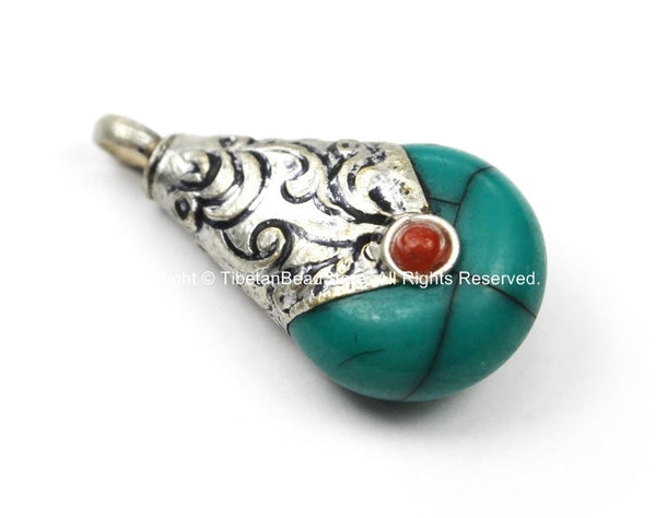 Small Ethnic Tibetan Turquoise Green Resin Drop Amulet Charm Pendant with Repousse Tibetan Silver Caps, Coral Accent- Charms - WM5680T-1