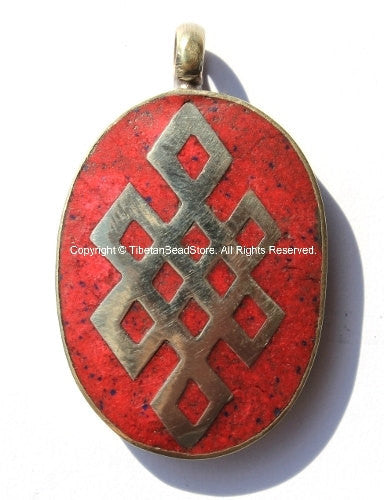 Tibetan Pendant - Endless Knot Pendant with Red Stone Inlay- Infinity Endless Knot TibetanBeadStore Tibetan Beads, Pendants, Jewelry- WM420