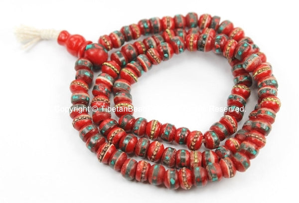 108 beads Tibetan Prayer Beads 6-7mm Red Bone Mala Prayer Beads with Brass, Copper, Turquoise & Coral Inlays, Tibetan Beads - PB13XS - TibetanBeadStore