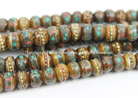 10 Beads  6mm-7mm Size Tibetan Antiqued Bone Beads with Brass, Turquoise & Coral Inlays- Tibetan Beads- Inlaid Bone Beads - LPB21XS-10