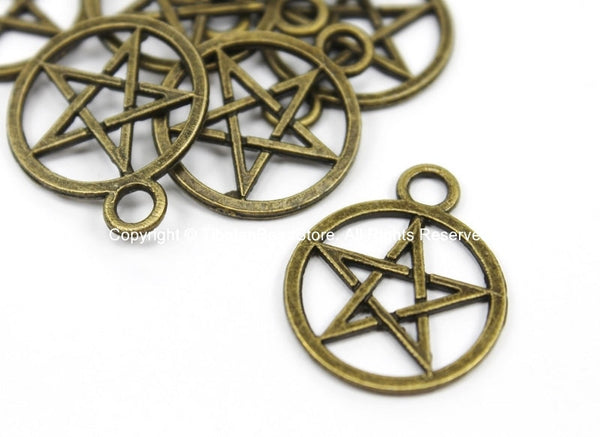 5 CHARMS Antiqued Bronze Tone Star Disc Charms Pendants- Antiqued Bronze Tone Star Charms - TibetanBeadStore Charms & Findings- WM5684-5