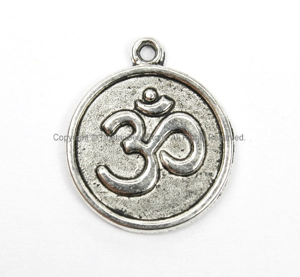 4 PIECES Silver Tone OM Charms Pendants - Yoga Meditation Om Charms Beads Pendants - Om Pendants - Om Jewelry - WM5695-4