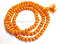 108 BEADS BIG 11mm Size Tibetan Resin Mala Prayer Beads- Mala Making Supplies Light Weight Amber Color Resin Mala with Guru Bead - PB115XB - TibetanBeadStore