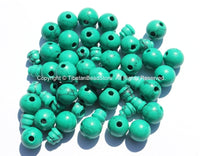 10 SETS Turquoise Tibetan Guru Bead Sets - 9mm-10mm size Howlite Turquoise 3 Hole Guru Beads - Tibetan Prayer Mala Making Supply- GB36-10 - TibetanBeadStore
