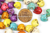 4 BEADS Small Mixed Colors Howlite Turquoise Skull Beads - TibetanBeadStore Tibetan Beads, Pendants & Jewelry - B2902M-4