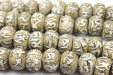 4 BEADS Antiqued Ethnic Naga Conch Shell Tibetan Beads with Om Mantra Carvings- TibetanBeadStore Handmade Tibetan Jewelry - B563-4