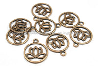 Set of 5 Tibetan Lotus Flower Antique Copper Tone Light Weight Metal Charms - Tibetan Lotus Charms - TibetanBeadStore - WM5709C-5
