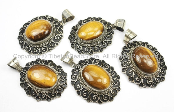 Handmade Nepal Tibetan Antiqued Filigree Floral Pendant with Tigers Eye Inlay- TibetanBeadStore Tibetan Beads, Pendants, Jewelry- WM5711B