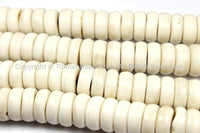 10 BEADS 13mm x 5mm THICK Tibetan Flat Disc White Bone Beads - Natural Animal Bone Tibetan Disc Beads - LPB129-10