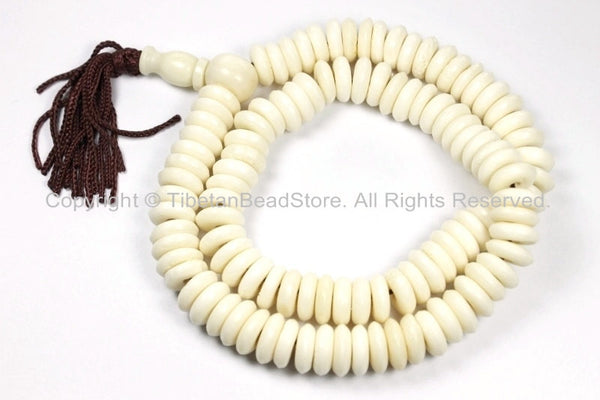 108 BEADS Tibetan Flat Disc Bone Mala Prayer Beads - Ivory Cream White Color Bone Disc Beads- TibetanBeadStore Mala Supplies- PB126 - TibetanBeadStore