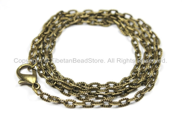 "1 Chain Antiqued Bronze Tone Long Necklace Chain with Lobster Clasp- 24"" Bronze Jewelry Chain-24 Inches Jewelry Chain- C35-1"