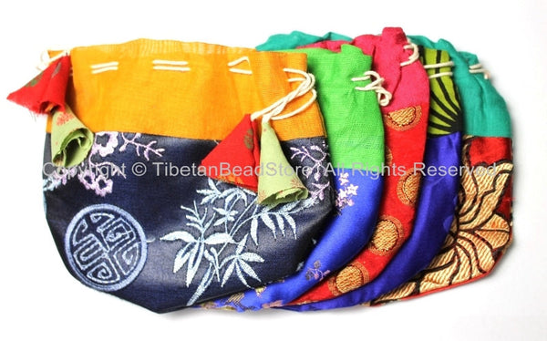Set of 5 Regular Size Handmade Tibetan Drawstring Fabric Purses- Ethnic Nepalese Tibetan Gift Pouches Bags Purses by TibetanBeadStore- BP8-5