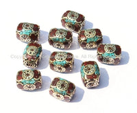 2 BEADS Tibetan Rectangle Box Beads with Brass, Turquoise & Coral Inlays - Unique Rectangular Beads Ethnic Nepal Tibetan Beads - B272B-2