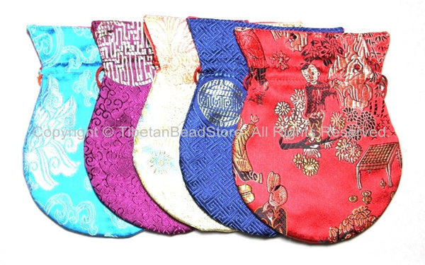 Set of 5 Big Size High Quality Tibetan Drawstring Brocade Purses Pouches- TibetanBeadStore Gift Mala Pouches Bags Purses- HPB8-5