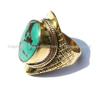 OOAK Ethnic Tribal Tibetan Ring with Turquoise Inlay (SIZE 9.25)- Nepal Tibetan Ring Handmade Tibetan Jewelry TibetanBeadStore- R115A-9.25