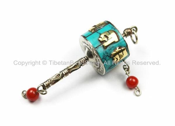 "Tibetan ""OM"" Mantra Prayer Wheel Charm Pendant- Small Nepal Tibet Turquoise Inlay Prayer Wheel Charm Pendant- Earring Supplies-WM5751-1"