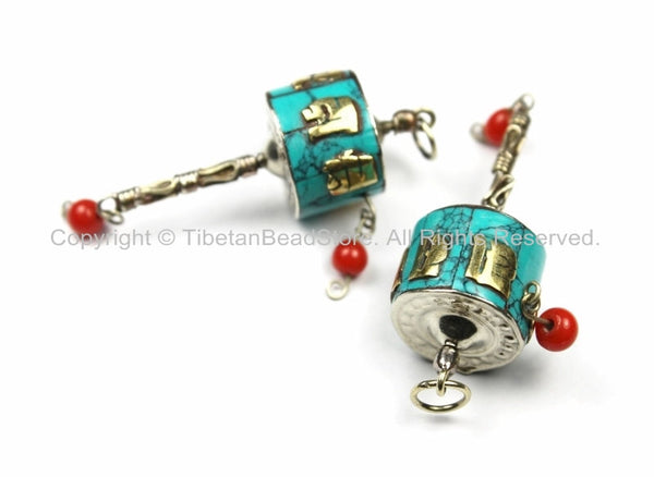 "2 Tibetan ""OM"" Mantra Prayer Wheel Charms Pendants Small Nepal Tibet Turquoise Inlay Prayer Wheel Charms Pendants Earring Supplies- WM5751-2"