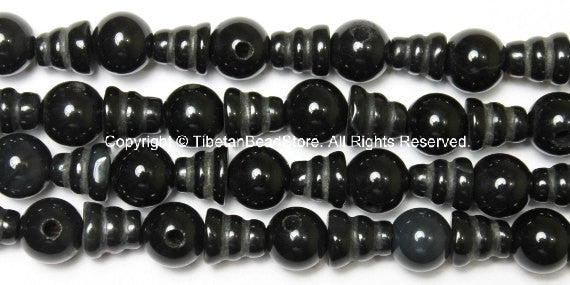5 SETS - Tibetan Black Onyx Guru Bead Sets - Mala Making Supply - Tibetan Guru Beads - GB35-5