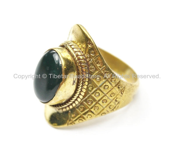 Tibetan Ring with Agate Inlay (SIZE 8)- Nepal Ring Tibetan Ring Ethnic Ring Tribal Ring Boho Ring Handmade Ring TibetanBeadStore R207-8