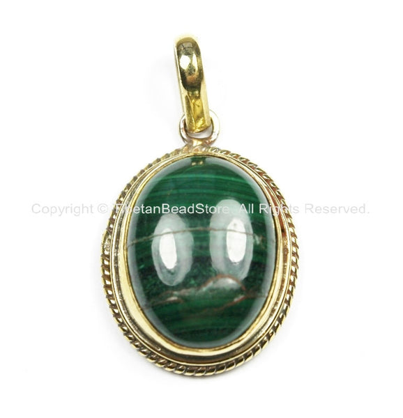 AS IS Nepal Tibetan Malachite & Brass Pendant- Nepal Pendant Tibet Pendant Malachite Pendant Handmade Tibetan Beads, Pendants, Jewelry - WM5800