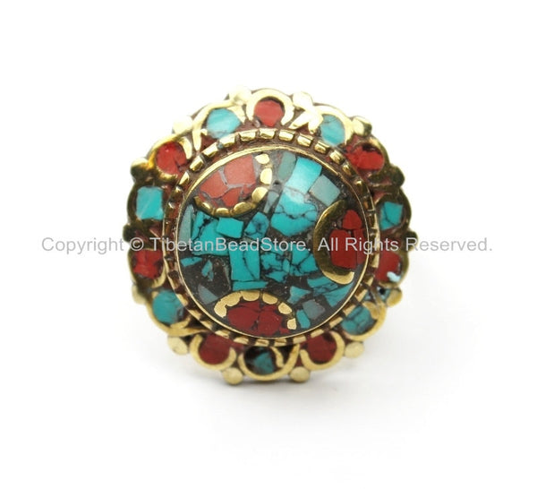 Nepalese Tibetan Floral Style Ring (SIZE 6.25) Turquoise, Coral, Brass Ring Ethnic Floral Ring Boho Ring Yoga Ring Statement Ring- R193-6.25