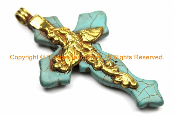 LARGE Tibetan Reversible Turquoise Cross Pendant with Repousse Brass Bail, Phoenix Bird & Lotus Floral Details by TibetanBeadStore- WM6157