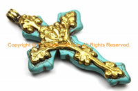 LARGE Tibetan Reversible Turquoise Cross Pendant with Repousse Brass Bail, Lotus Flower & Floral Details by TibetanBeadStore- WM6156