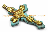 LARGE Tibetan Reversible Turquoise Cross Pendant with Repousse Brass Bail, Lotus Flower & Floral Details by TibetanBeadStore- WM6154