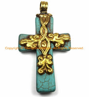 Tibetan Reversible Turquoise Cross Pendant with Brass Bail, Repousse Hand Carved Snake Serpent & Floral Details by TibetanBeadStore- WM6145