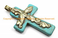 Tibetan Reversible Turquoise Cross Pendant with Tibetan Silver Bail, Repousse Hand Carved Lotus Flower & Floral Details- WM6151
