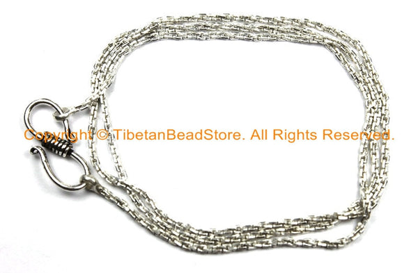 "18 inch Finished Silver Plated Chain 1.5mm S-Hook Clasp - 18"" Silver Plated Chain - CN38-18 - TibetanBeadStore"